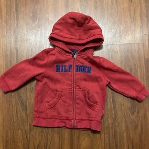 5/20 Tommy Hilfiger red zip up hoodie 12 months